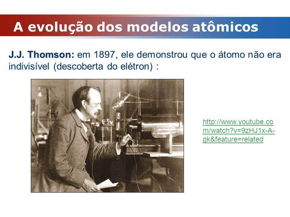 A evolução dos modelos atômicos J.J. Thomson: J.J. Thomson: em 1897, ele demonstrou que o átomo não era indivisível (descoberta do elétron) : http://w