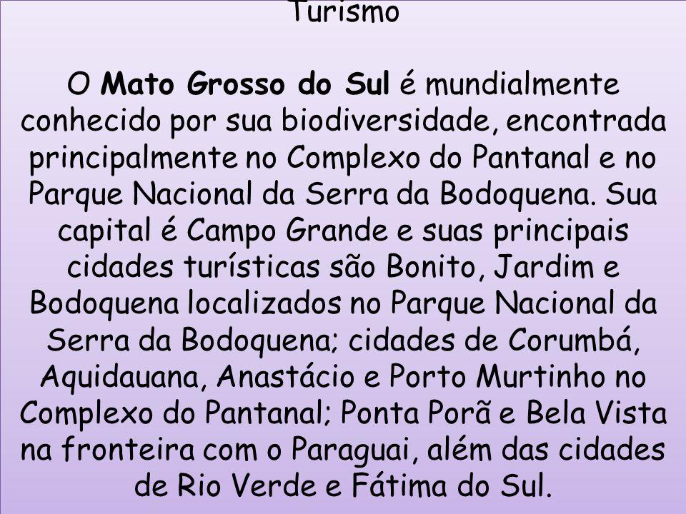 Turismo O Mato Grosso do Sul é mundialmente conhecido por sua biodiversidade, encontrada principalmente no Complexo do Pantanal e no Parque Nacional d