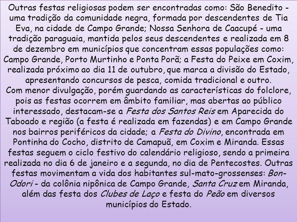 Outras festas religiosas podem ser encontradas como: São Benedito - uma tradição da comunidade negra, formada por descendentes de Tia Eva, na cidade d