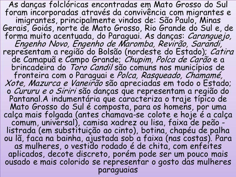 As danças folclóricas encontradas em Mato Grosso do Sul foram incorporadas através da convivência com migrantes e imigrantes, principalmente vindos de