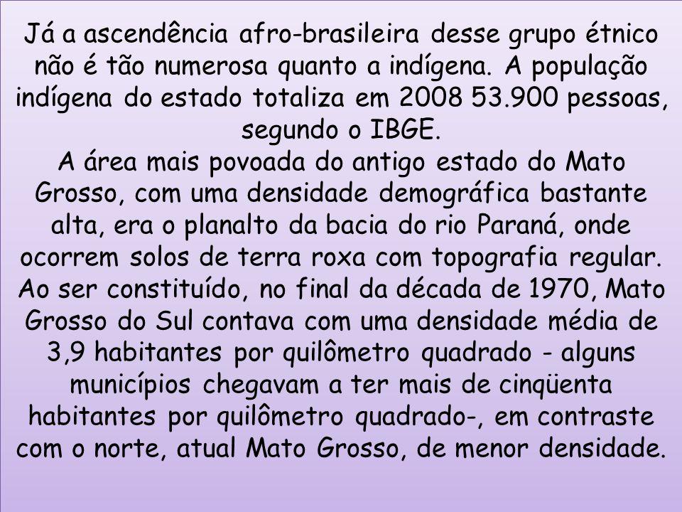 Já a ascendência afro-brasileira desse grupo étnico não é tão numerosa quanto a indígena. A população indígena do estado totaliza em 2008 53.900 pesso