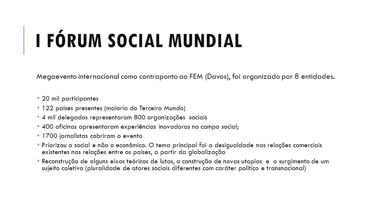 I FÓRUM SOCIAL MUNDIAL Megaevento internacional como contraponto ao FEM (Davos), foi organizado por 8 entidades.  20 mil participantes  122 países p