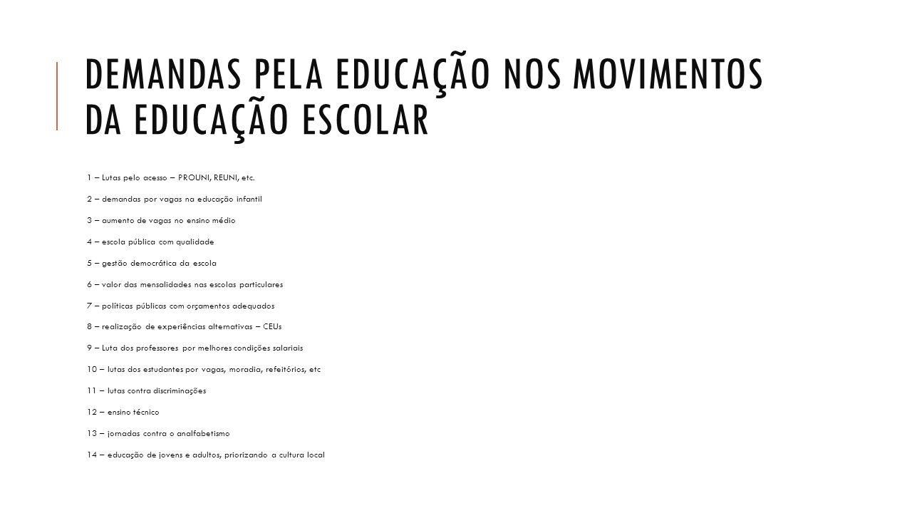 DEMANDAS PELA EDUCAÇÃO NOS MOVIMENTOS DA EDUCAÇÃO ESCOLAR 1 – Lutas pelo acesso – PROUNI, REUNI, etc. 2 – demandas por vagas na educação infantil 3 –