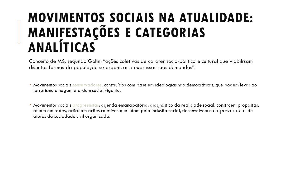 """MOVIMENTOS SOCIAIS NA ATUALIDADE: MANIFESTAÇÕES E CATEGORIAS ANALÍTICAS Conceito de MS, segundo Gohn: """"ações coletivas de caráter socio-político e cul"""