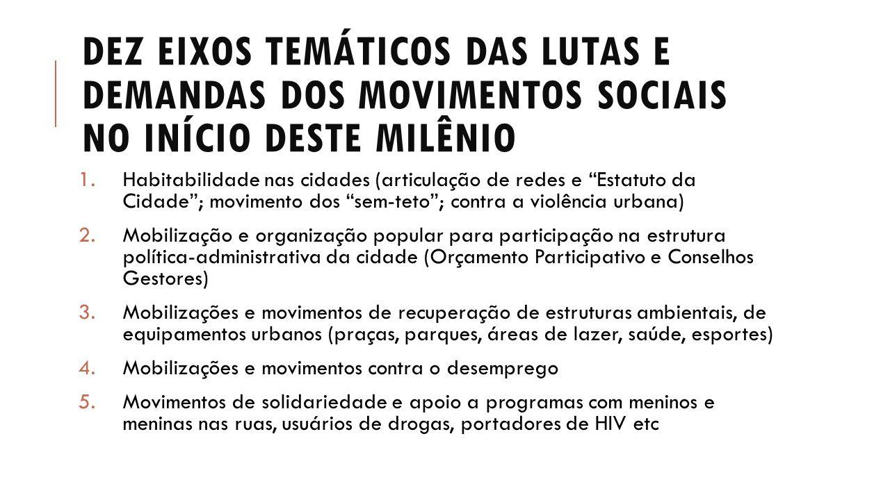 """DEZ EIXOS TEMÁTICOS DAS LUTAS E DEMANDAS DOS MOVIMENTOS SOCIAIS NO INÍCIO DESTE MILÊNIO 1.Habitabilidade nas cidades (articulação de redes e """"Estatuto"""