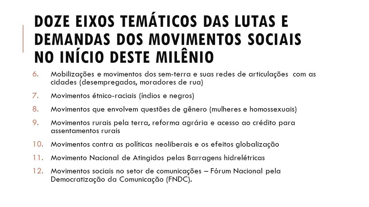 DOZE EIXOS TEMÁTICOS DAS LUTAS E DEMANDAS DOS MOVIMENTOS SOCIAIS NO INÍCIO DESTE MILÊNIO 6.Mobilizações e movimentos dos sem-terra e suas redes de art