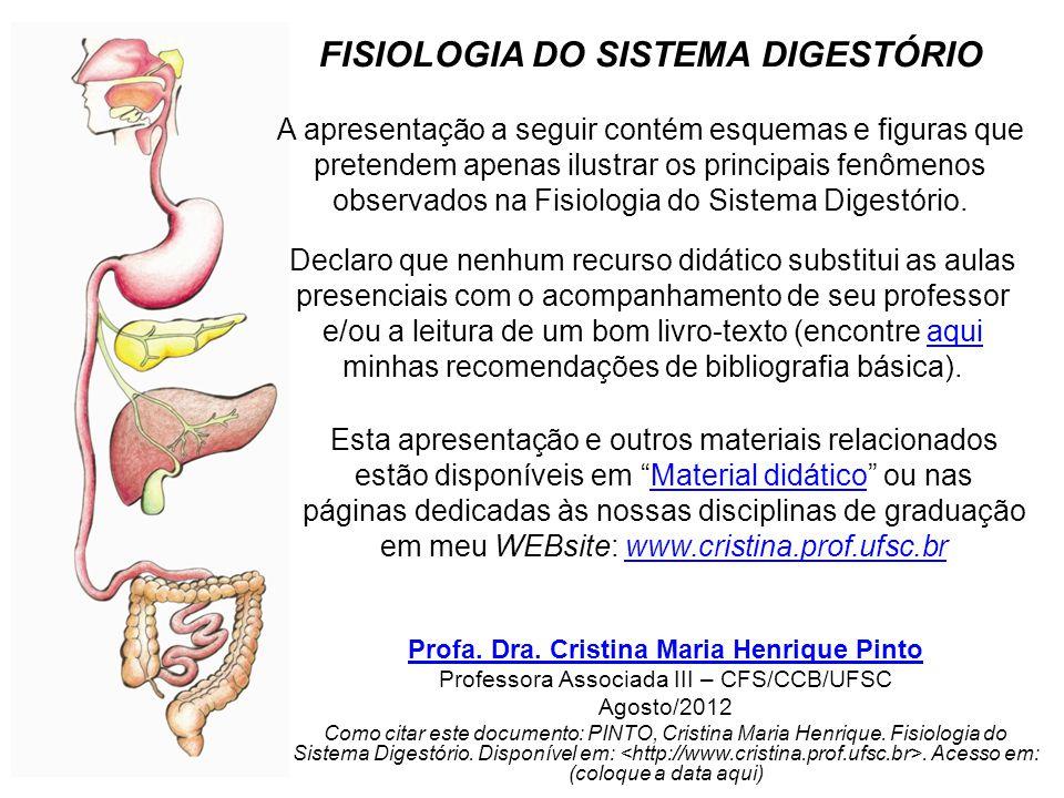 A apresentação a seguir contém esquemas e figuras que pretendem apenas ilustrar os principais fenômenos observados na Fisiologia do Sistema Digestório