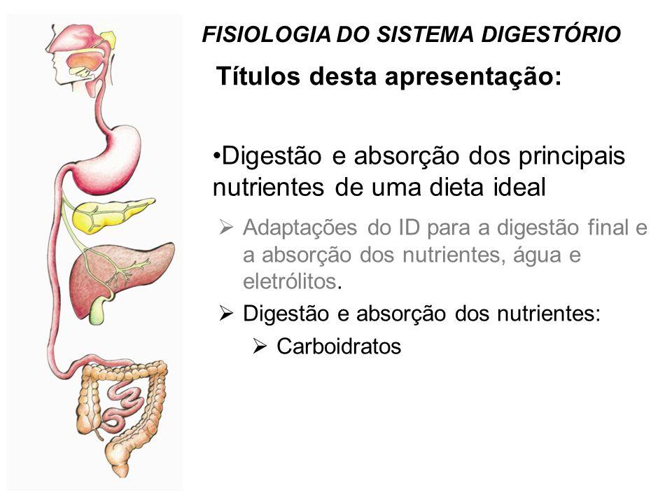Títulos desta apresentação: FISIOLOGIA DO SISTEMA DIGESTÓRIO •Digestão e absorção dos principais nutrientes de uma dieta ideal  Adaptações do ID para