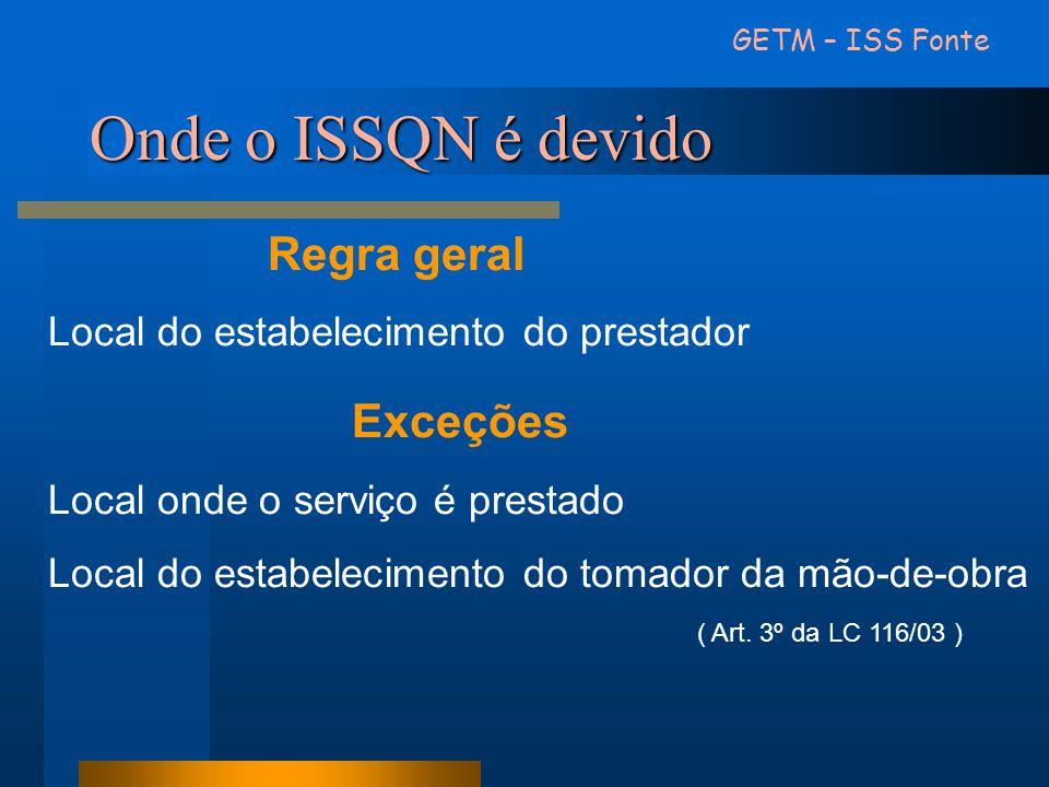 Onde o ISSQN é devido Regra geral Local do estabelecimento do prestador Exceções Local onde o serviço é prestado Local do estabelecimento do tomador d