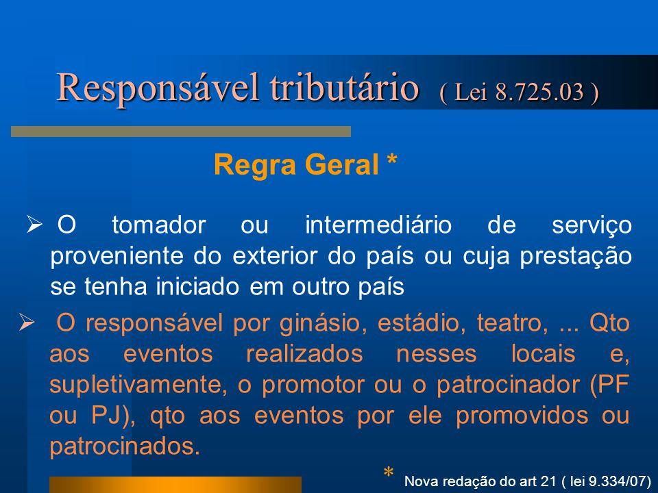Regra Geral * Responsável tributário ( Lei 8.725.03 )  O tomador ou intermediário de serviço proveniente do exterior do país ou cuja prestação se ten