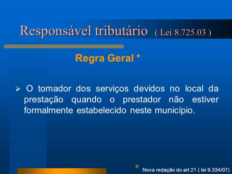Regra Geral * Responsável tributário ( Lei 8.725.03 ) Nova redação do art 21 ( lei 9.334/07) *  O tomador dos serviços devidos no local da prestação