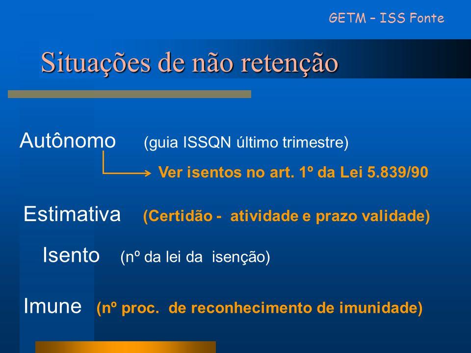 Situações de não retenção GETM – ISS Fonte Autônomo (guia ISSQN último trimestre) Ver isentos no art. 1º da Lei 5.839/90 Estimativa (Certidão - ativid