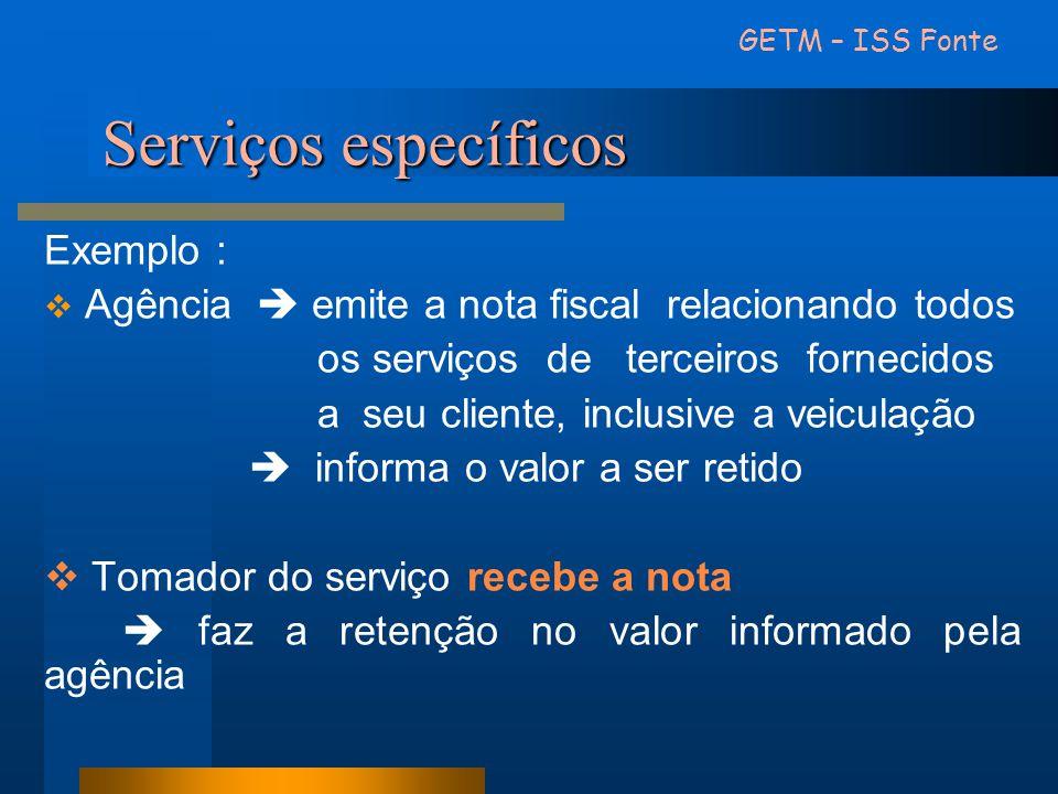 Serviços específicos Exemplo :  Agência  emite a nota fiscal relacionando todos os serviços de terceiros fornecidos a seu cliente, inclusive a veicu