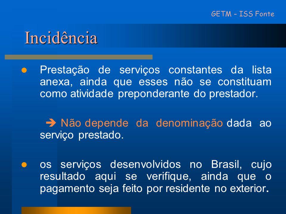 Não incidência • Exportações de serviços para o exterior do País.