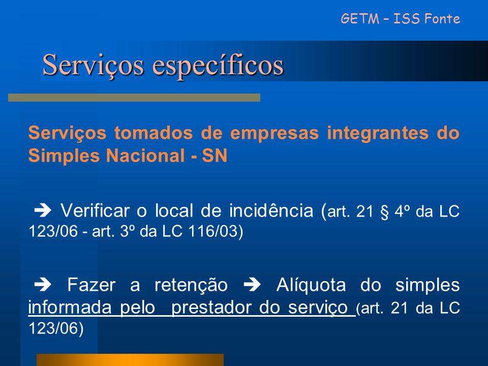 Serviços específicos Serviços tomados de empresas integrantes do Simples Nacional - SN  Verificar o local de incidência ( art. 21 § 4º da LC 123/06 -