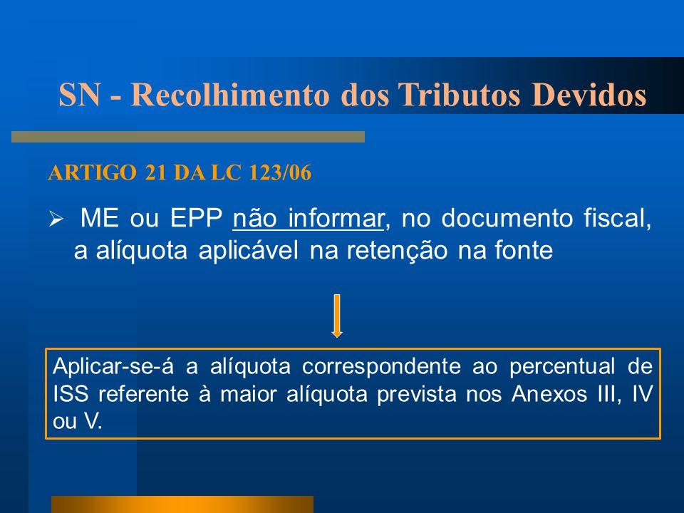 ARTIGO 21 DA LC 123/06  ME ou EPP não informar, no documento fiscal, a alíquota aplicável na retenção na fonte Aplicar-se-á a alíquota correspondente