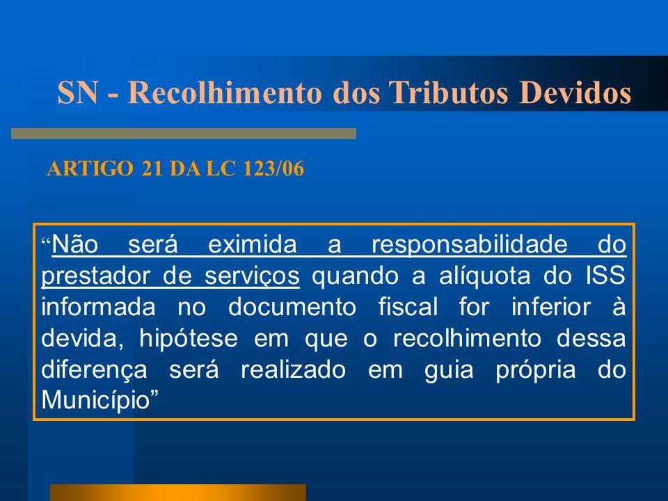 """ARTIGO 21 DA LC 123/06 """" Não será eximida a responsabilidade do prestador de serviços quando a alíquota do ISS informada no documento fiscal for infer"""