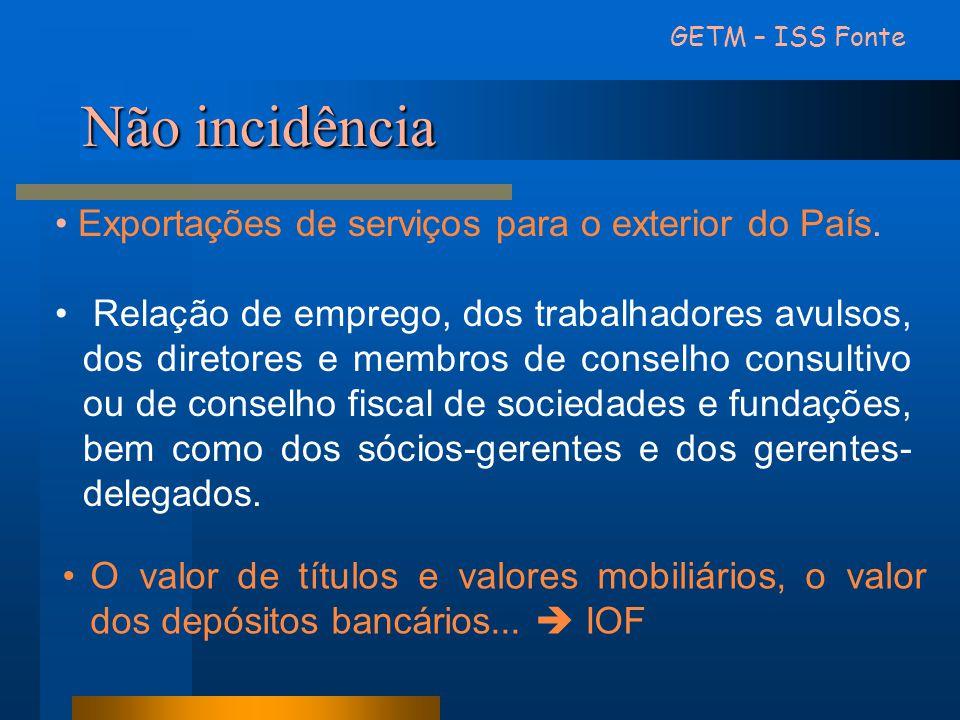 Não incidência • Exportações de serviços para o exterior do País. • Relação de emprego, dos trabalhadores avulsos, dos diretores e membros de conselho