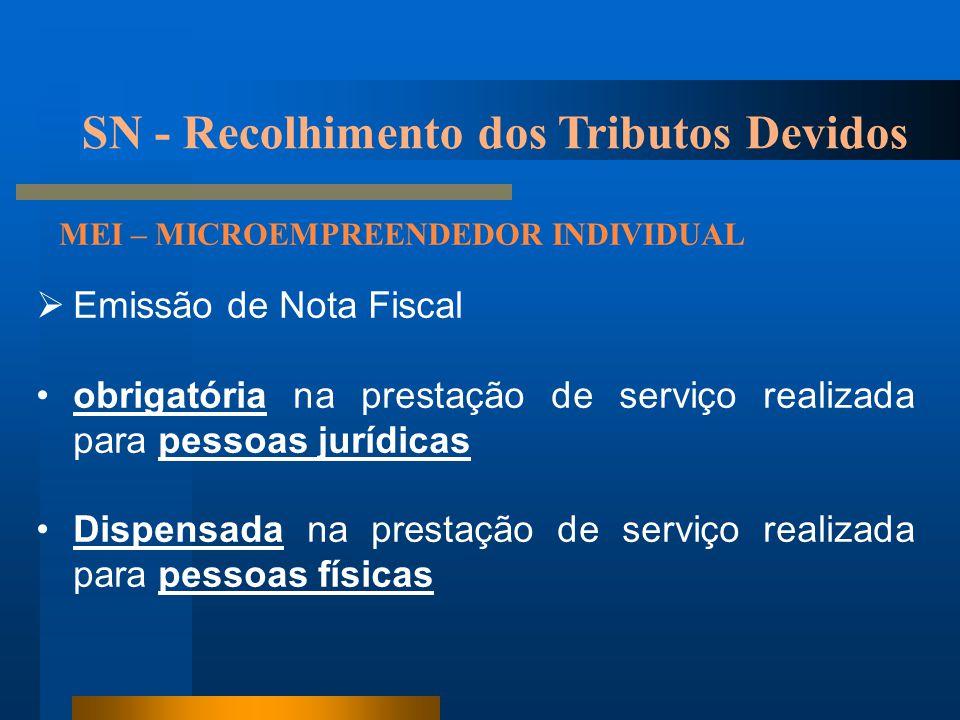 SN - Recolhimento dos Tributos Devidos MEI – MICROEMPREENDEDOR INDIVIDUAL  Emissão de Nota Fiscal •obrigatória na prestação de serviço realizada para