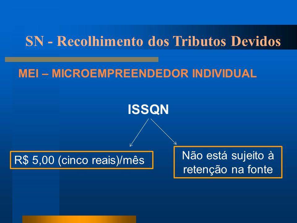 SN - Recolhimento dos Tributos Devidos MEI – MICROEMPREENDEDOR INDIVIDUAL ISSQN R$ 5,00 (cinco reais)/mês Não está sujeito à retenção na fonte