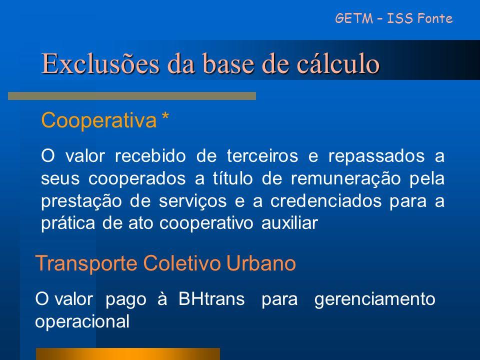 Exclusões da base de cálculo Cooperativa * O valor recebido de terceiros e repassados a seus cooperados a título de remuneração pela prestação de serv
