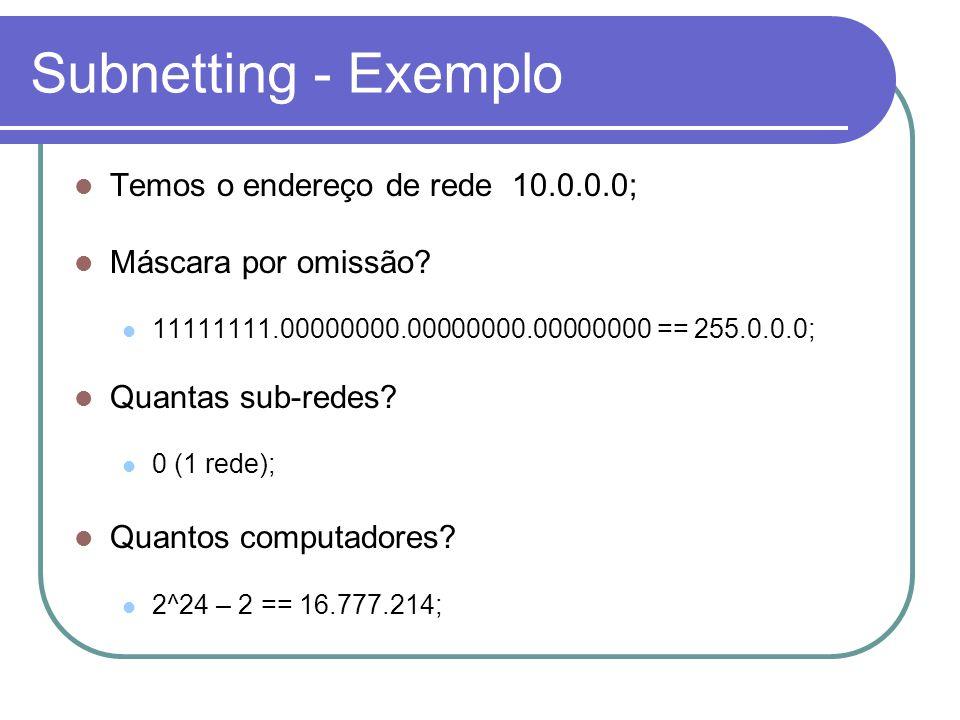 Subnetting - Exemplo  Temos o endereço de rede 10.0.0.0;  Máscara por omissão.