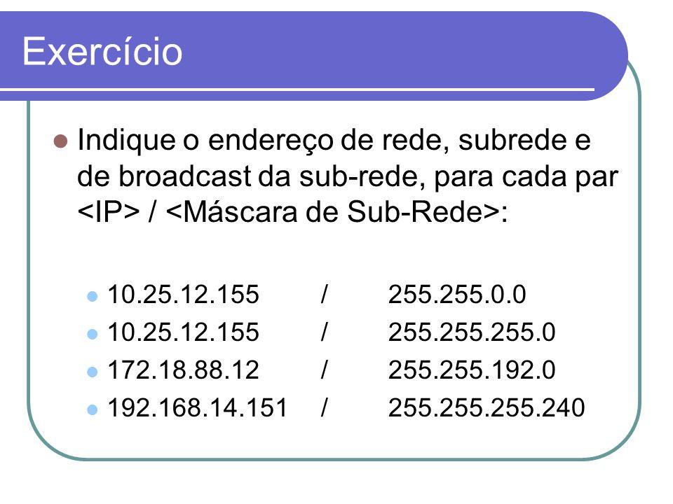 Exercício  Indique o endereço de rede, subrede e de broadcast da sub-rede, para cada par / :  10.25.12.155/255.255.0.0  10.25.12.155/255.255.255.0  172.18.88.12/255.255.192.0  192.168.14.151/255.255.255.240