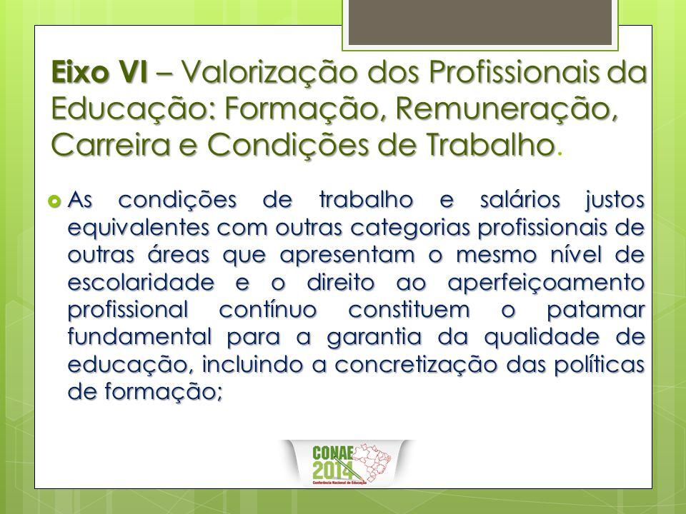 Eixo VI – Valorização dos Profissionais da Educação: Formação, Remuneração, Carreira e Condições de Trabalho Eixo VI – Valorização dos Profissionais d