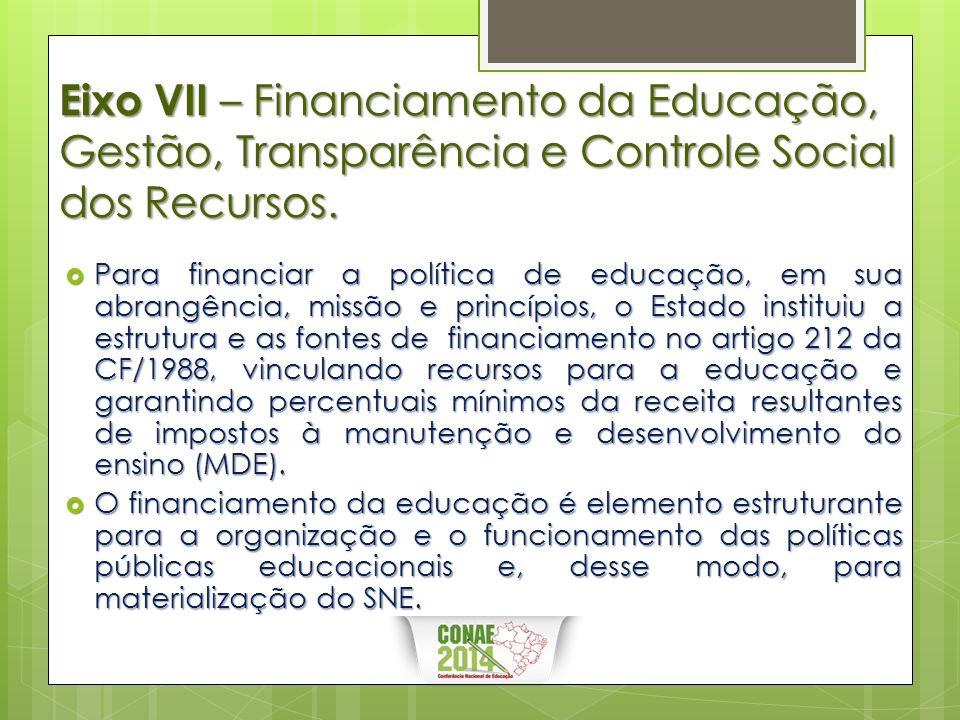 Eixo VII – Financiamento da Educação, Gestão, Transparência e Controle Social dos Recursos.  Para financiar a política de educação, em sua abrangênci