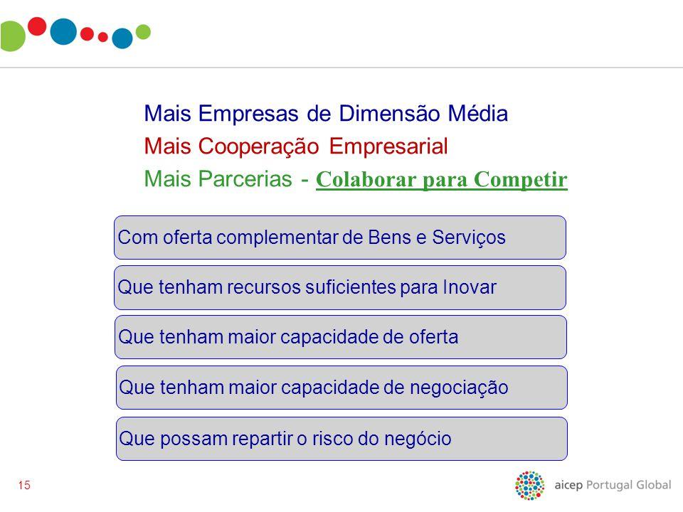 15 Mais Empresas de Dimensão Média Mais Cooperação Empresarial Mais Parcerias - Que possam repartir o risco do negócio Que tenham maior capacidade de