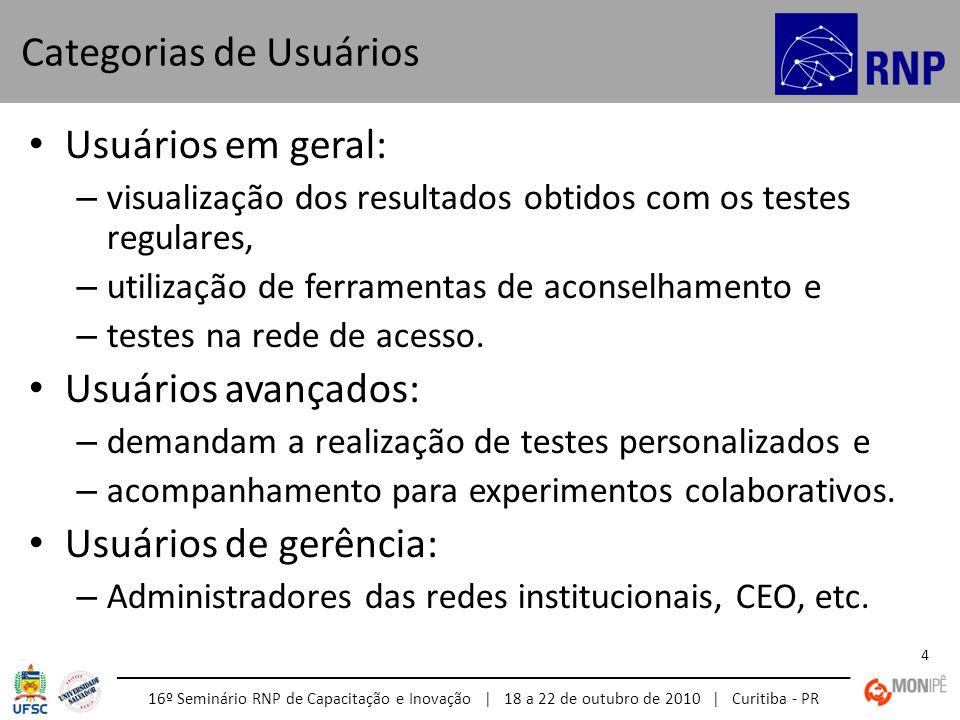 16º Seminário RNP de Capacitação e Inovação | 18 a 22 de outubro de 2010 | Curitiba - PR 4 • Usuários em geral: – visualização dos resultados obtidos com os testes regulares, – utilização de ferramentas de aconselhamento e – testes na rede de acesso.