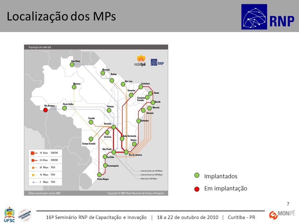 16º Seminário RNP de Capacitação e Inovação | 18 a 22 de outubro de 2010 | Curitiba - PR 7 Localização dos MPs Implantados Em implantação