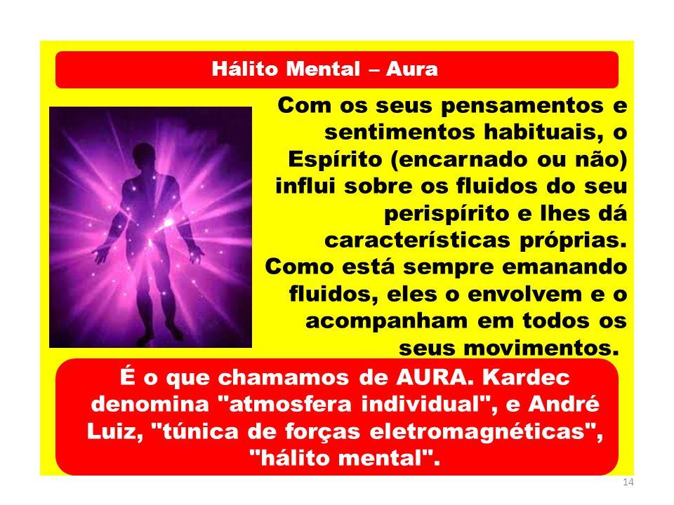 14 Hálito Mental – Aura Com os seus pensamentos e sentimentos habituais, o Espírito (encarnado ou não) influi sobre os fluidos do seu perispírito e lh