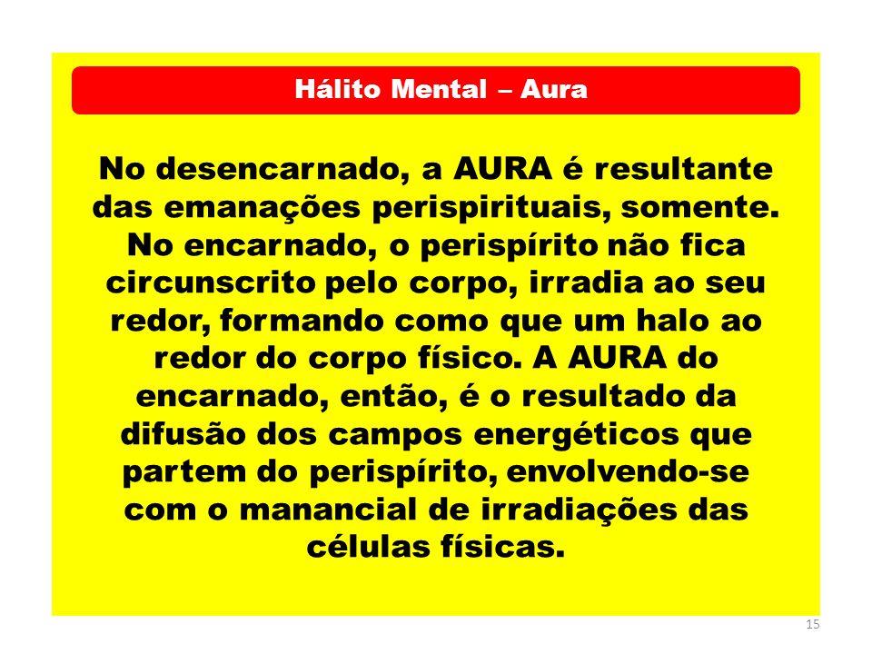 15 Hálito Mental – Aura No desencarnado, a AURA é resultante das emanações perispirituais, somente. No encarnado, o perispírito não fica circunscrito