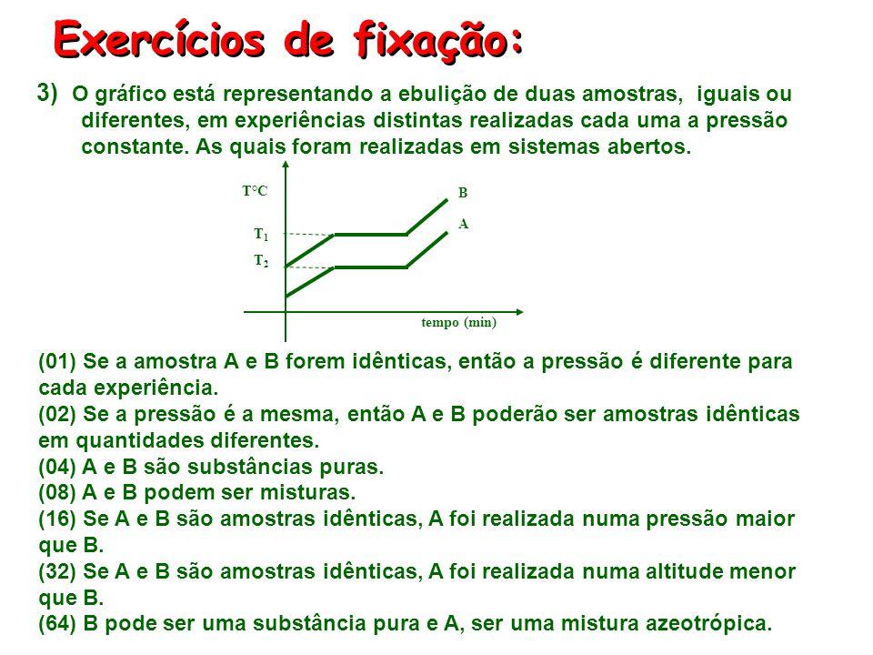 Exercícios de fixação: 2) Com relação ao gráfico, indique as proposições verdadeiras: (01) O gráfico representa o aquecimento de substância pura. (02)