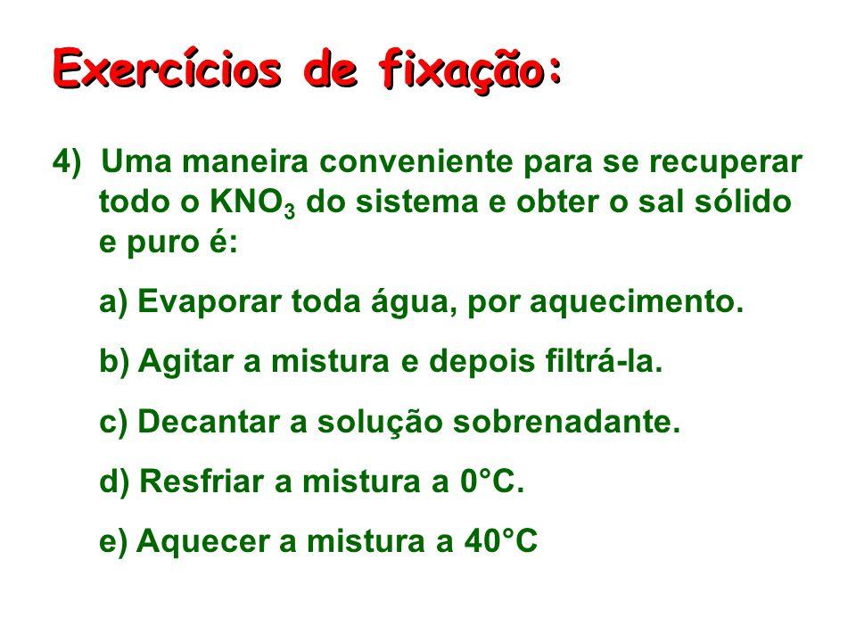 3) Essa mistura heterogênea, inicialmente a 20°C, é aquecida até 60°C. Dessa forma: a) A solução aquosa torna-se insaturada. b) A solução aquosa torna