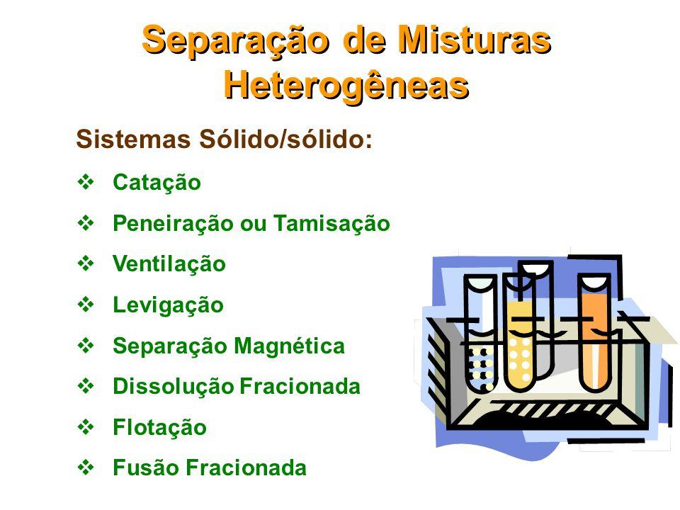  Misturas Heterogêneas: Sólido/sólido Sólido/líquido Sólido/gás Líquido/líquido  Misturas Homogêneas: sólido/sólido sólido/líquido líquido/líquido l