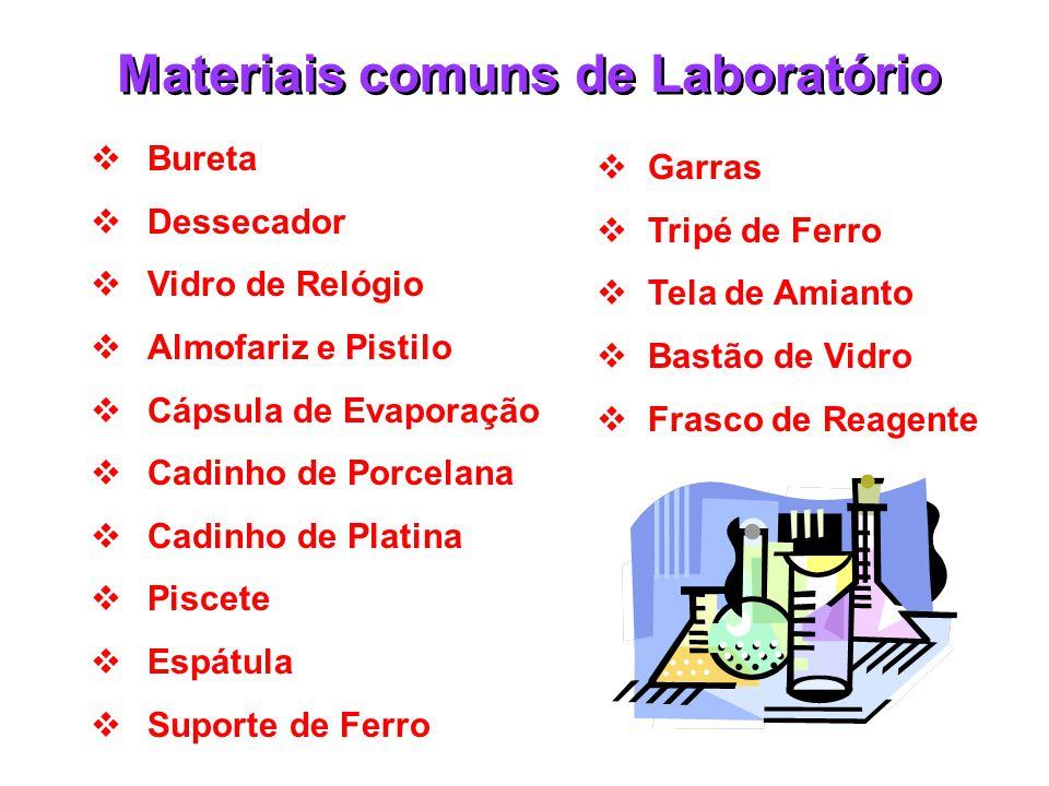 Materiais comuns de Laboratório  Tubo de Ensaio  Béquer  Erlenmeyer  Balão de Fundo Chato  Balão Volumétrico  Balão de Destilação  Condensador