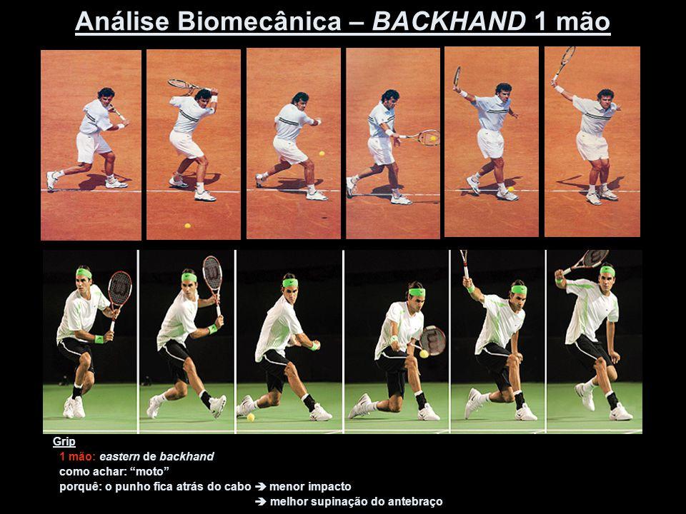 """Grip 1 mão: eastern de backhand como achar: """"moto"""" porquê: o punho fica atrás do cabo  menor impacto  melhor supinação do antebraço Análise Biomecân"""
