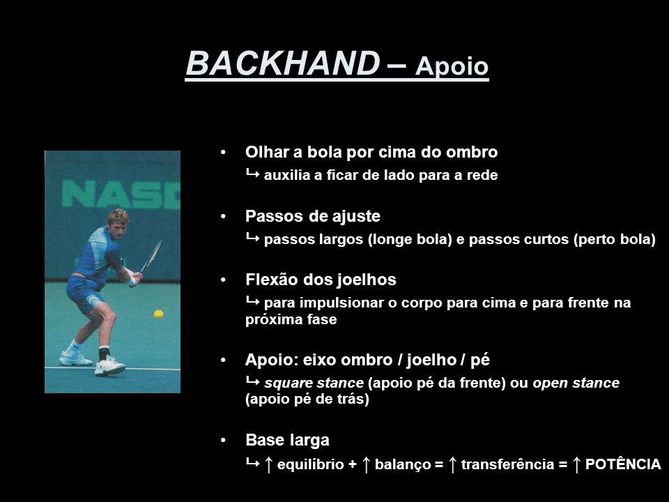 BACKHAND – Apoio •Olhar a bola por cima do ombro  auxilia a ficar de lado para a rede •Passos de ajuste  passos largos (longe bola) e passos curtos