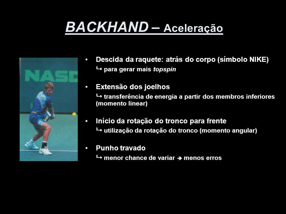 BACKHAND – Aceleração •Descida da raquete: atrás do corpo (símbolo NIKE)  para gerar mais topspin •Extensão dos joelhos  transferência de energia a