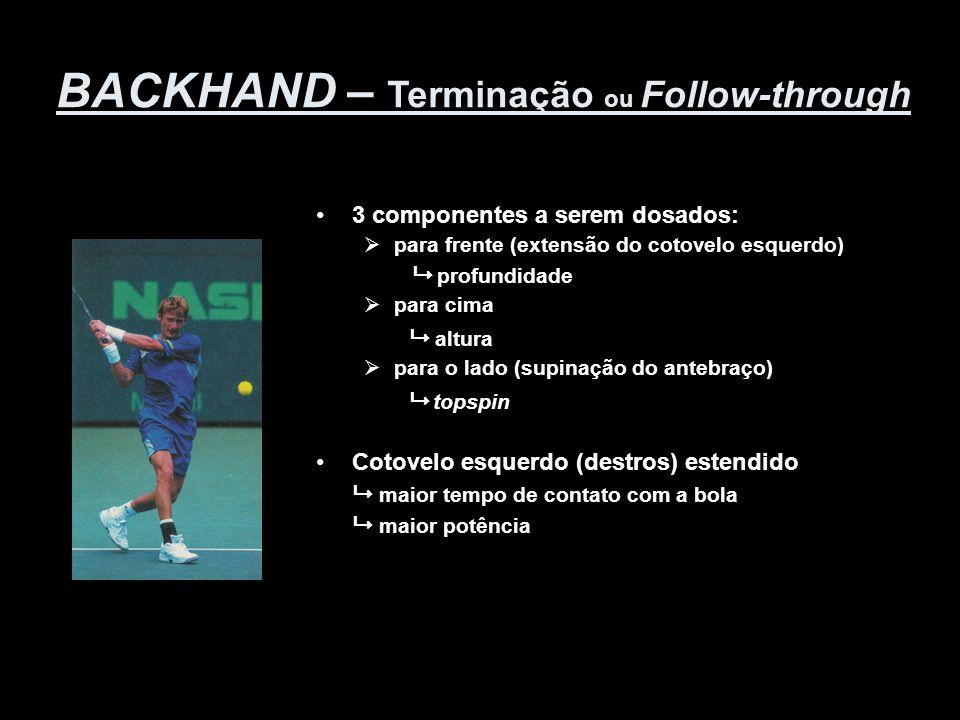 BACKHAND – Terminação ou Follow-through •3 componentes a serem dosados:  para frente (extensão do cotovelo esquerdo)  profundidade  para cima  alt