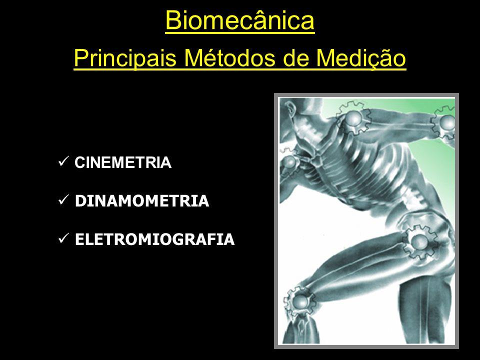 Biomecânica Principais Métodos de Medição  CINEMETRIA  DINAMOMETRIA  ELETROMIOGRAFIA