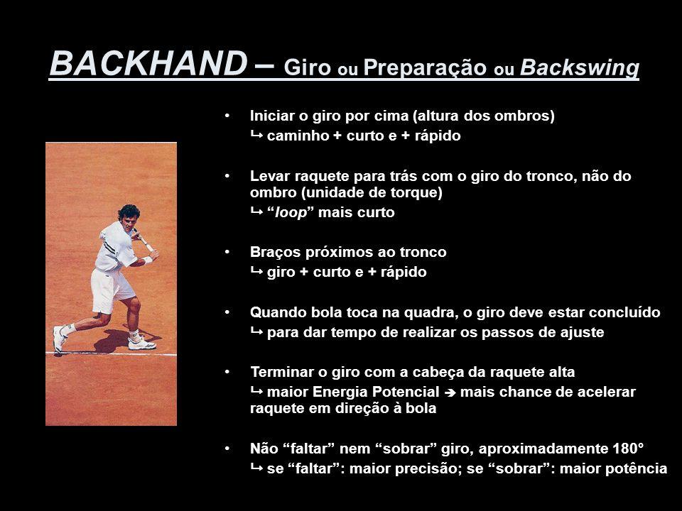 BACKHAND – Giro ou Preparação ou Backswing •Iniciar o giro por cima (altura dos ombros)  caminho + curto e + rápido •Levar raquete para trás com o gi