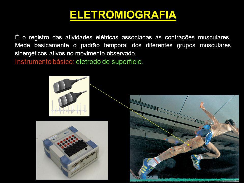ELETROMIOGRAFIA É o registro das atividades elétricas associadas às contrações musculares. Mede basicamente o padrão temporal dos diferentes grupos mu