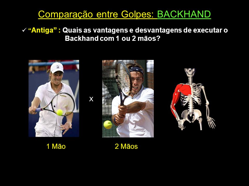 """Comparação entre Golpes: BACKHAND  """" Antiga"""" : Quais as vantagens e desvantagens de executar o Backhand com 1 ou 2 mãos? X 1 Mão2 Mãos"""