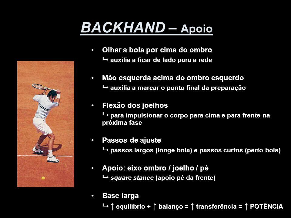 BACKHAND – Apoio •Olhar a bola por cima do ombro  auxilia a ficar de lado para a rede •Mão esquerda acima do ombro esquerdo  auxilia a marcar o pont