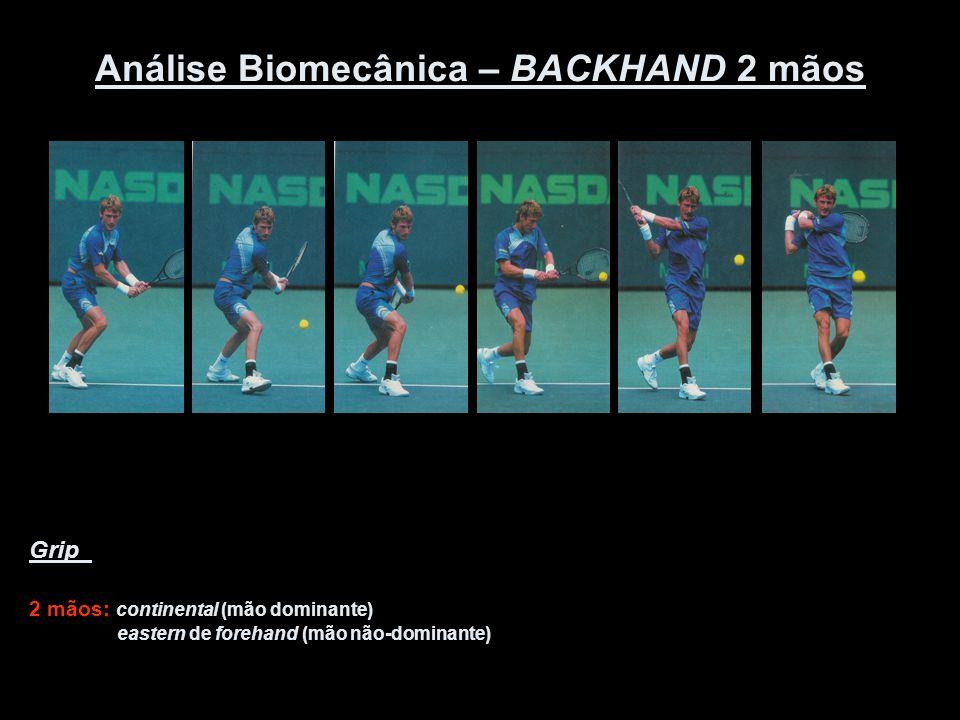 Análise Biomecânica – BACKHAND 2 mãos Grip 2 mãos: continental (mão dominante) eastern de forehand (mão não-dominante)
