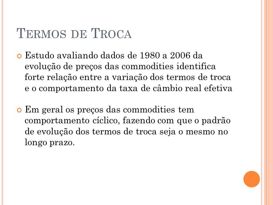 B ALANÇA C OMERCIAL Maldição dos recursos  crescimento das exportações de produtos de recursos naturais deveria levar a uma deterioração do balanço de pagamentos Verifica-se no caso brasileiro que essa tendência realmente ocorre.
