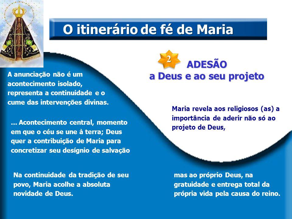 ADESÃO a Deus e ao seu projeto. O itinerário de fé de Maria A anunciação não é um acontecimento isolado, representa a continuidade e o cume das interv